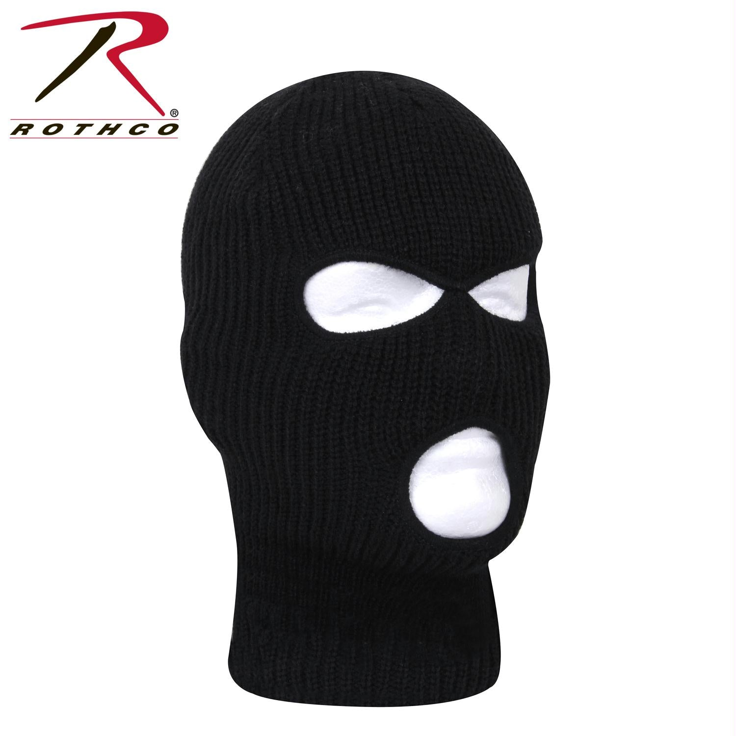 Rothco Fine Knit Three Hole Facemask - Black / One Size