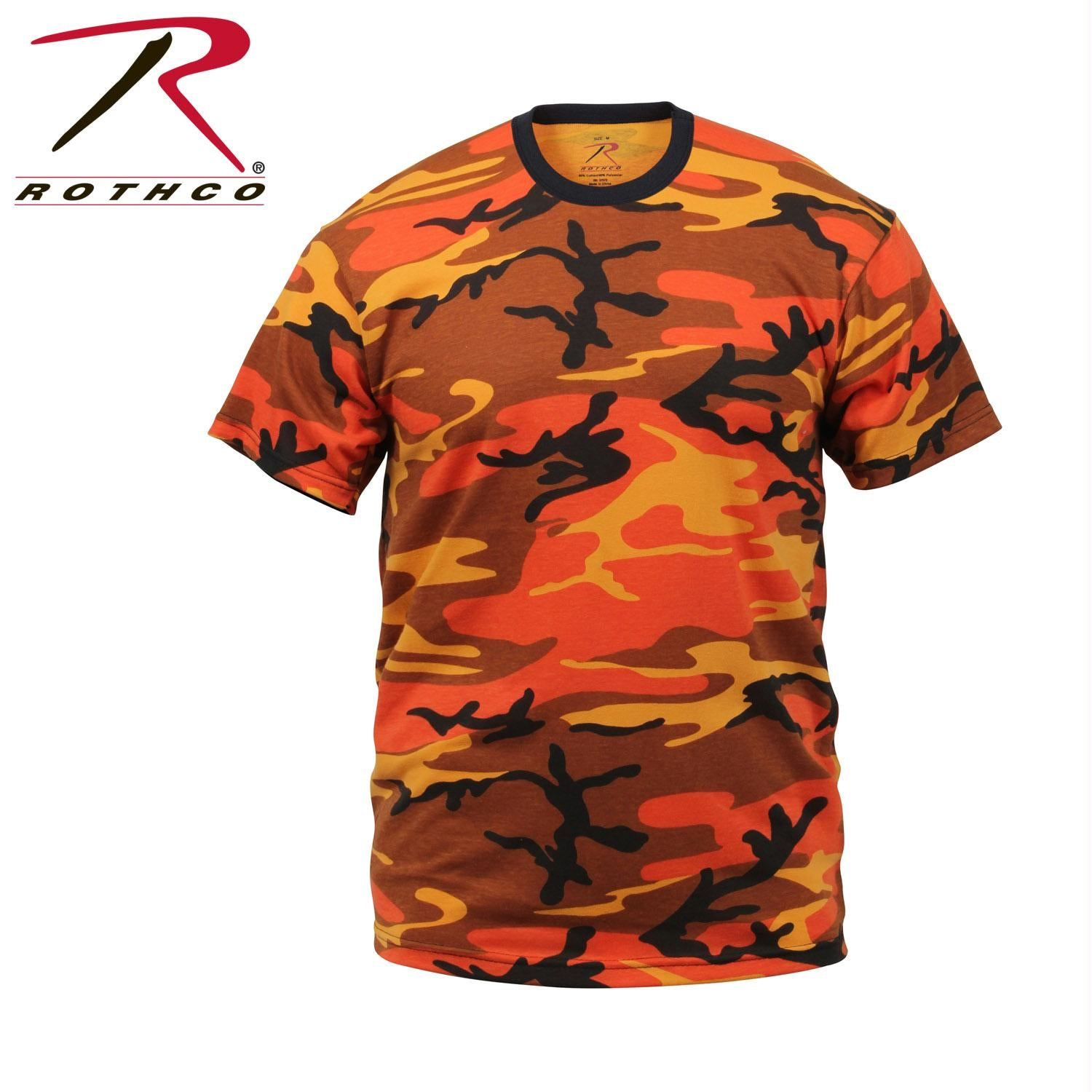 Mens Camouflage T-Shirt Military Camo Crewneck Short Sleeve Tee - Savage Orange Camo / L