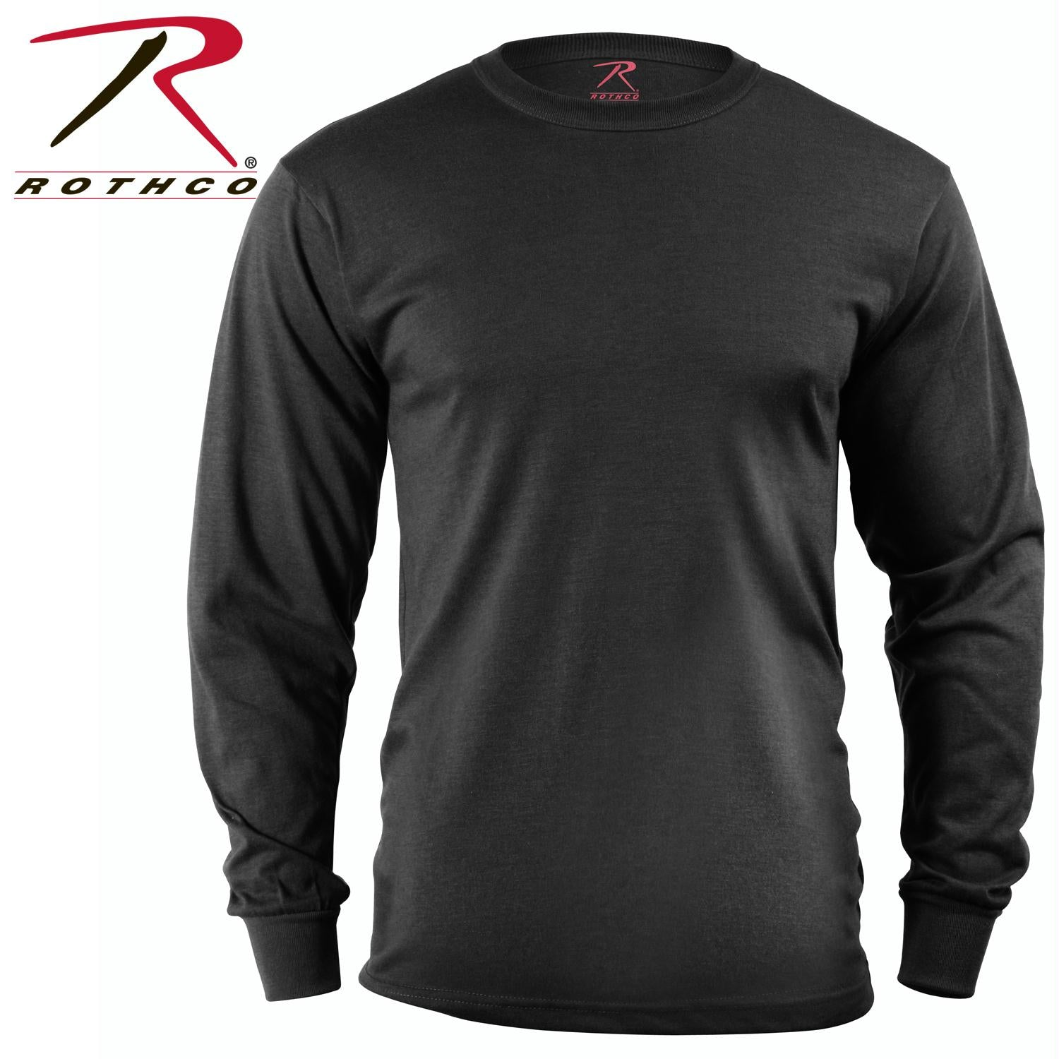 Rothco Long Sleeve Solid T-Shirt - Black / S
