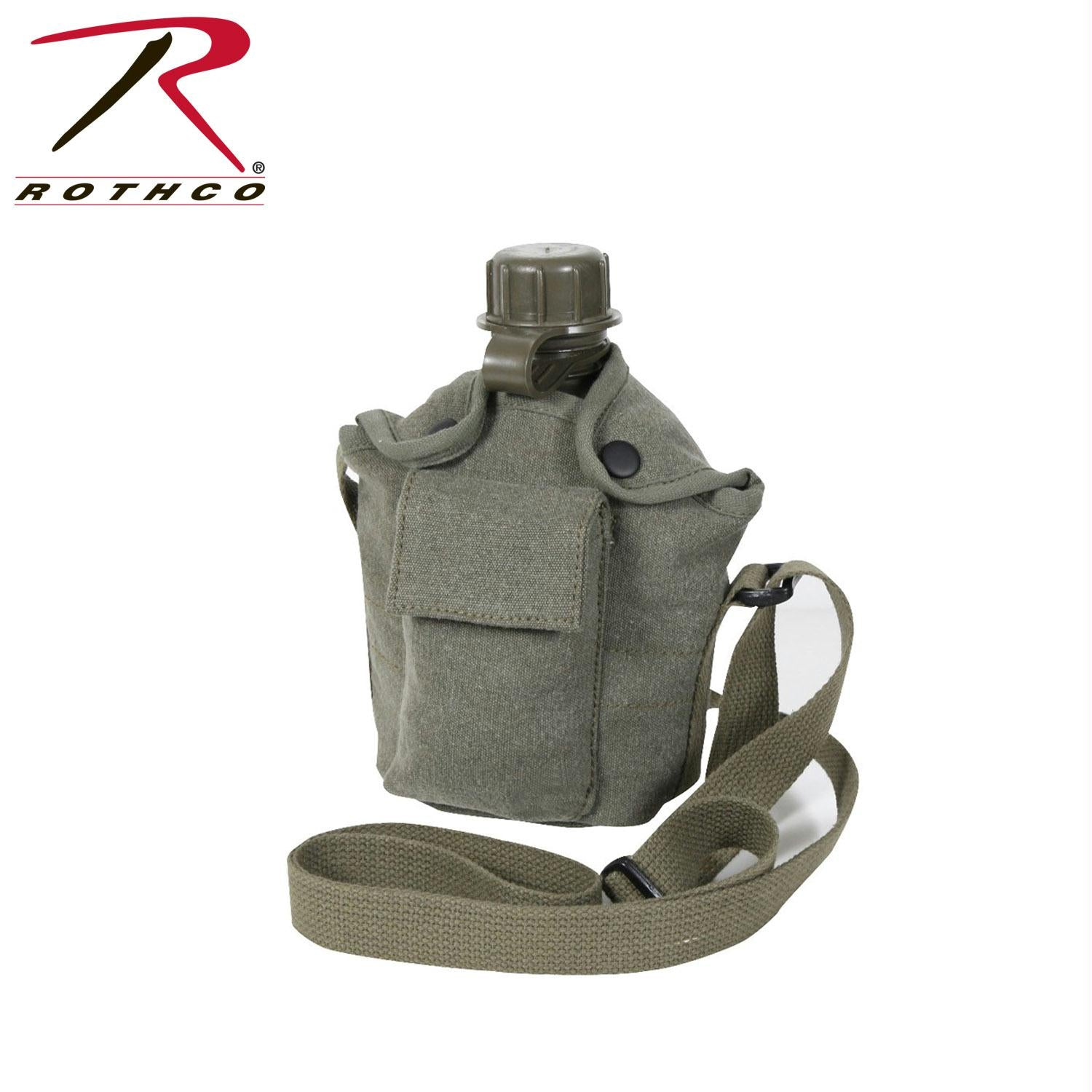 Rothco Vintage Canvas Carry-All Canteen Cover With Shoulder Strap - Olive Drab