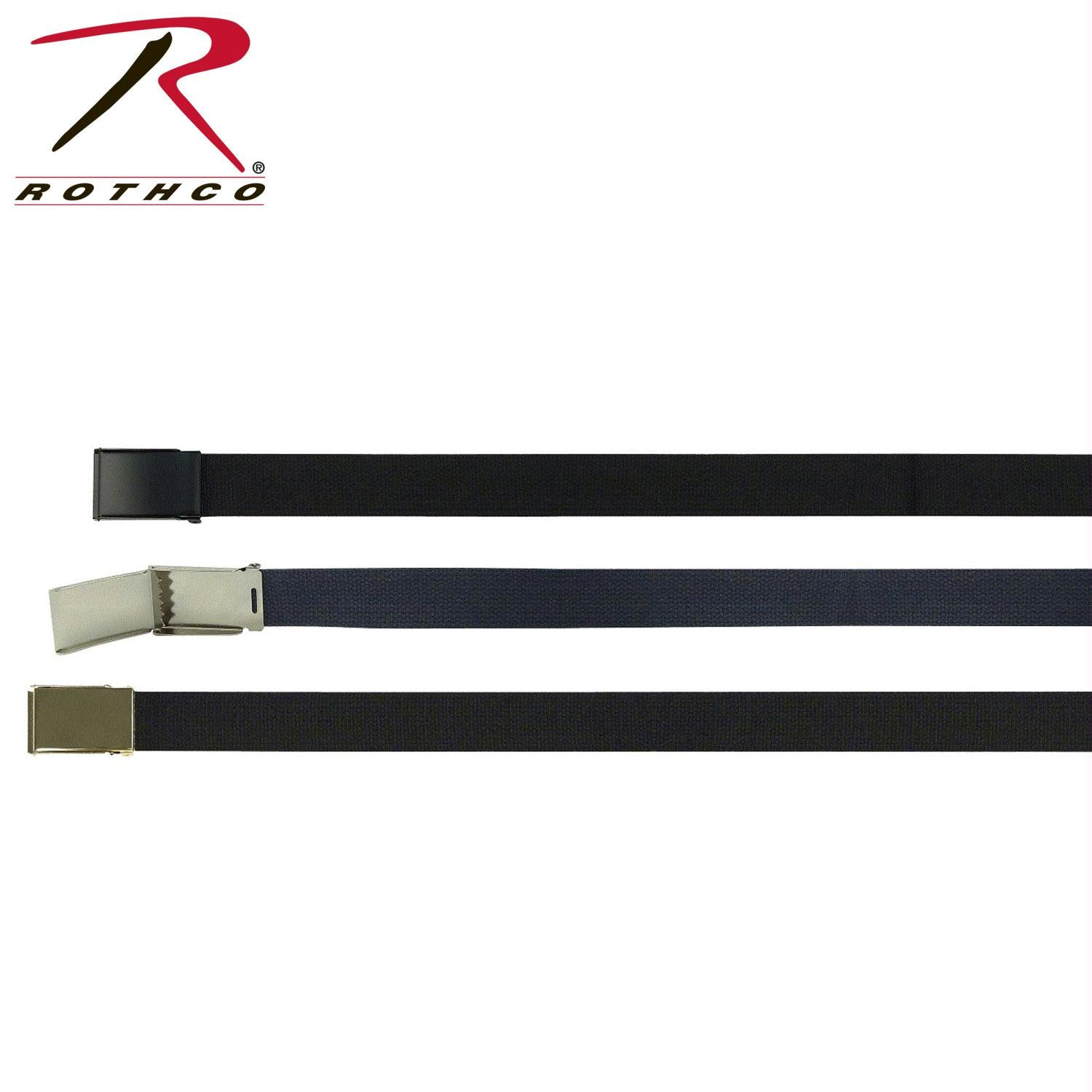 Rothco Military Web Belts With Flip Buckle - Chrome / Navy Blue