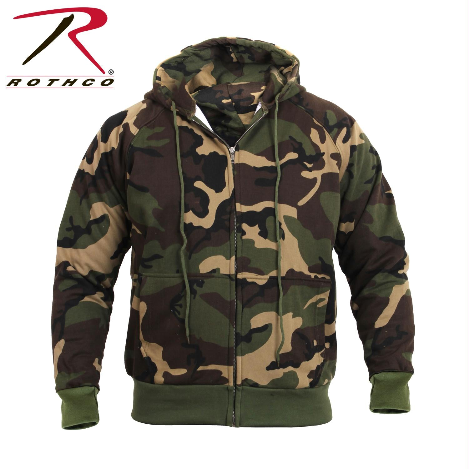 Rothco Thermal Lined Hooded Sweatshirt - Woodland Camo / M