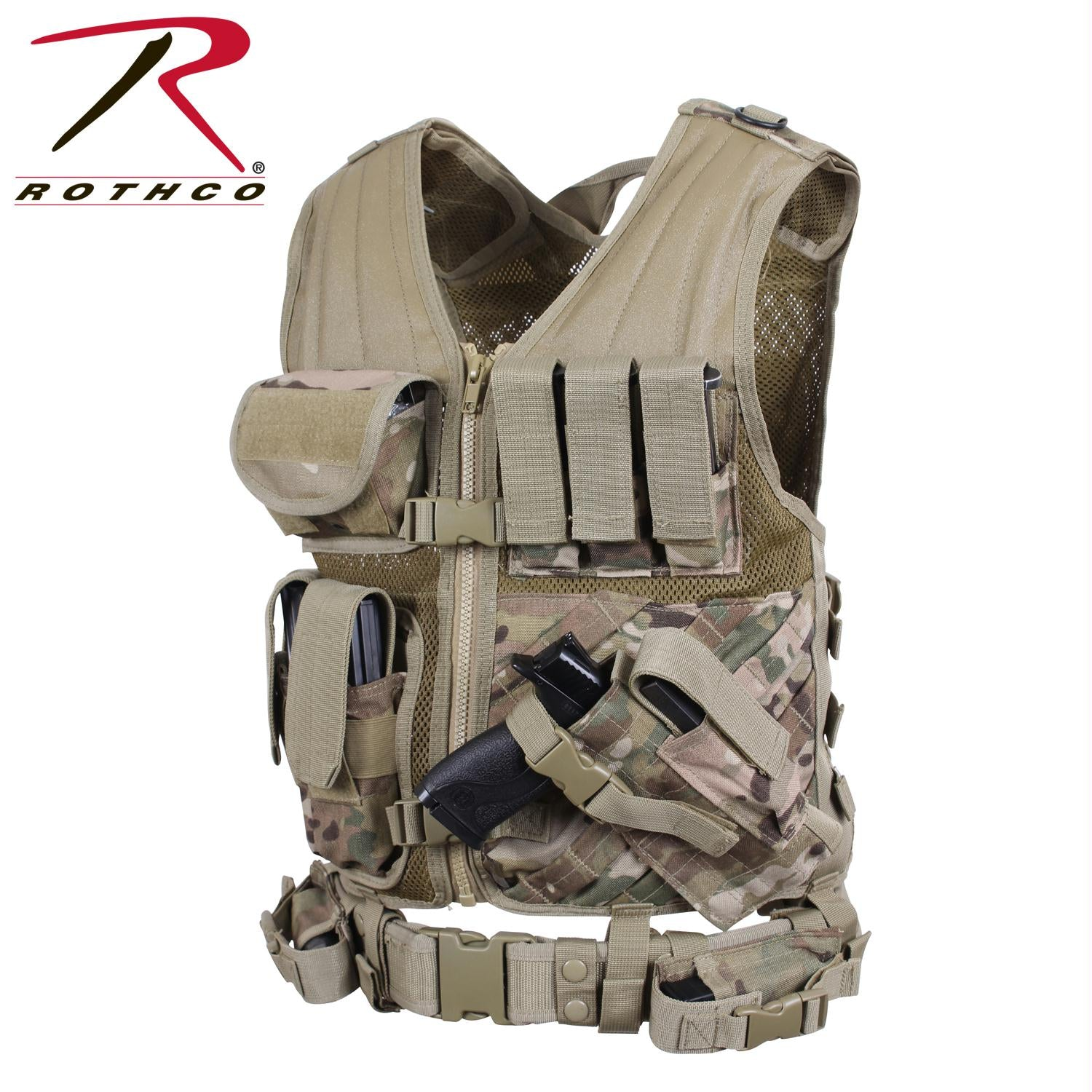 Rothco Cross Draw MOLLE Tactical Vest - MultiCam / Regular