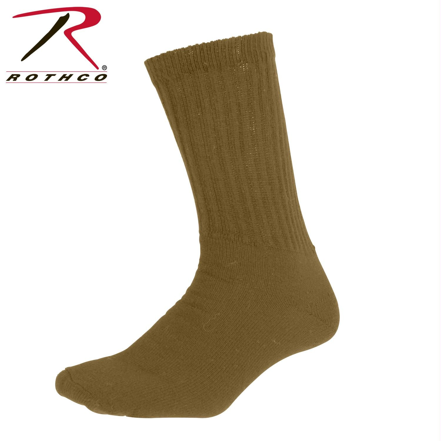 Rothco Athletic Crew Socks - Coyote Brown / L