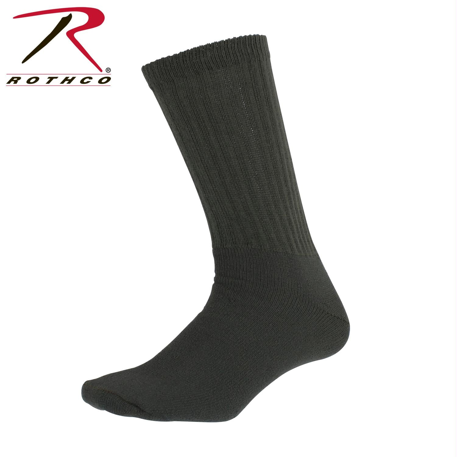 Rothco Athletic Crew Socks - Olive Drab / L