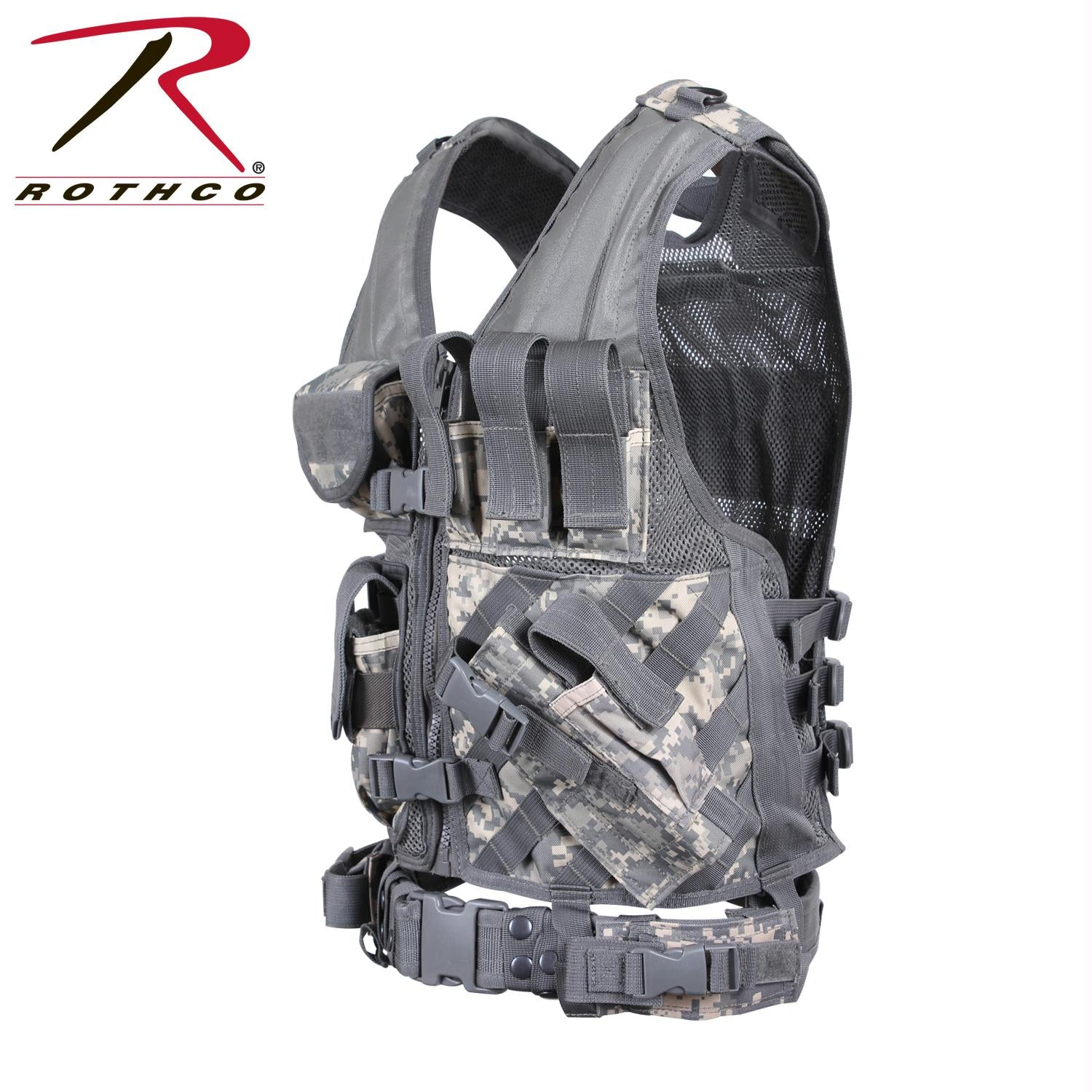 Rothco Cross Draw MOLLE Tactical Vest - ACU Digital Camo / Regular