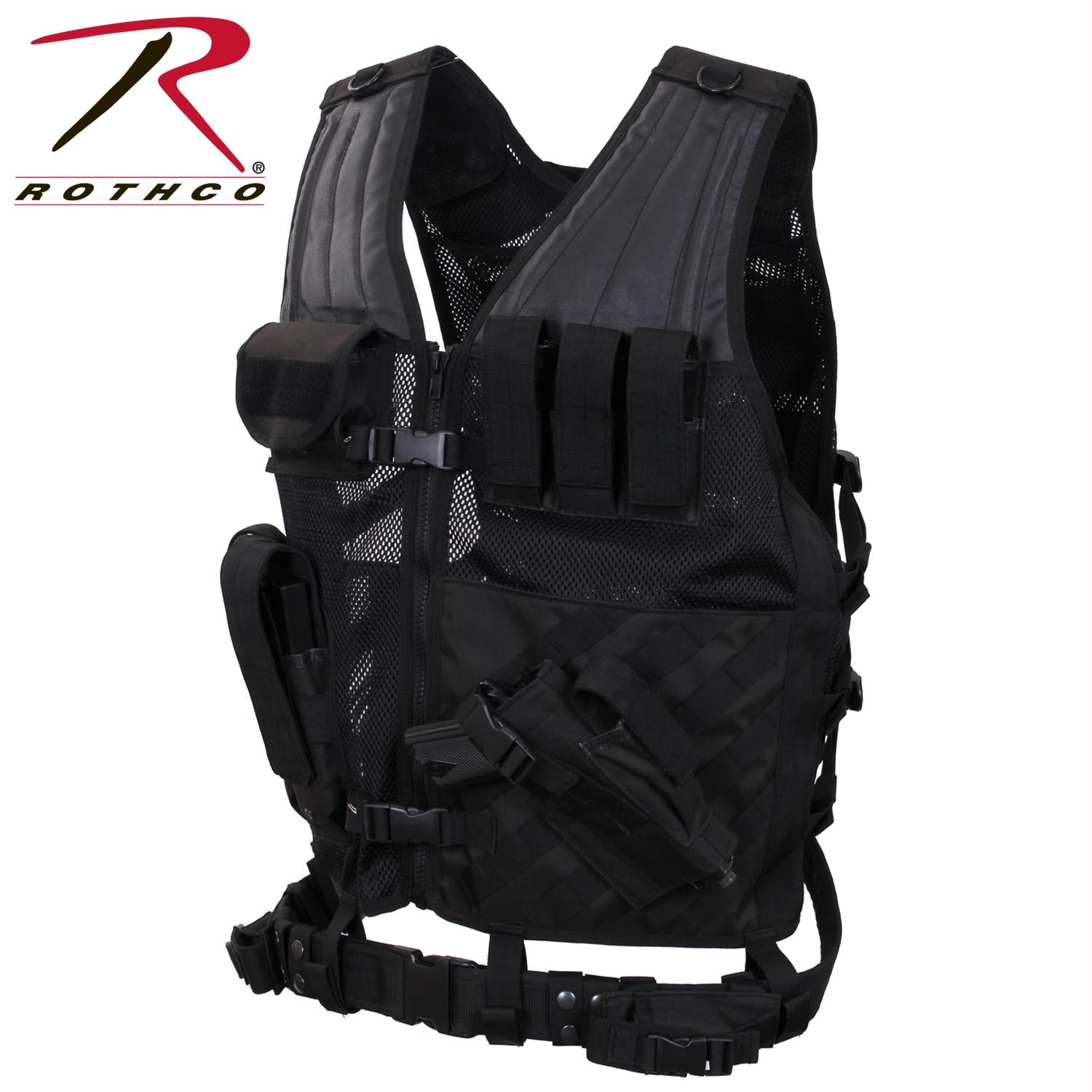 Rothco Cross Draw MOLLE Tactical Vest - Black / Oversized