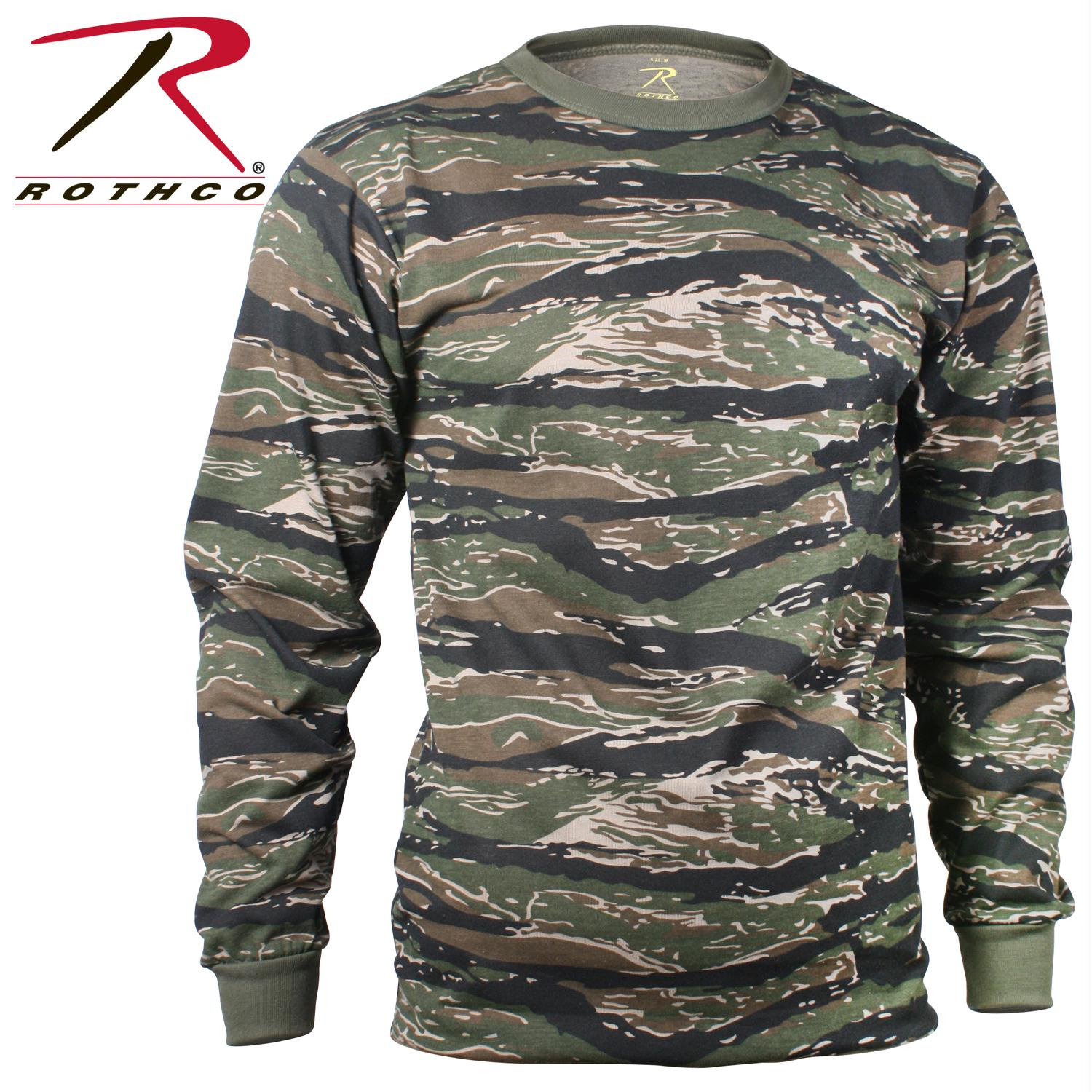 Rothco Long Sleeve Camo T-Shirt - Tiger Stripe Camo / 4XL