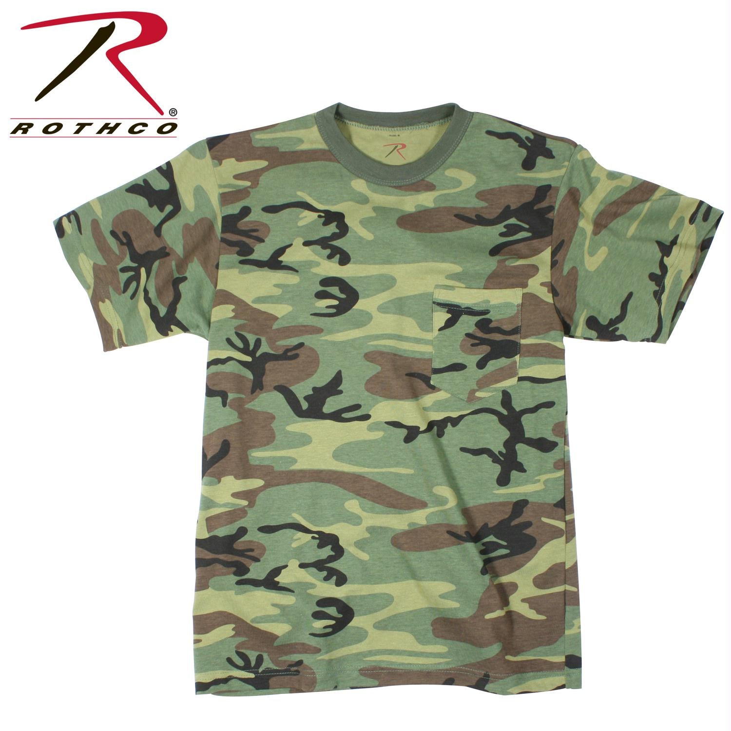 Rothco Woodland Camo T-Shirt w/ Pocket - 3XL