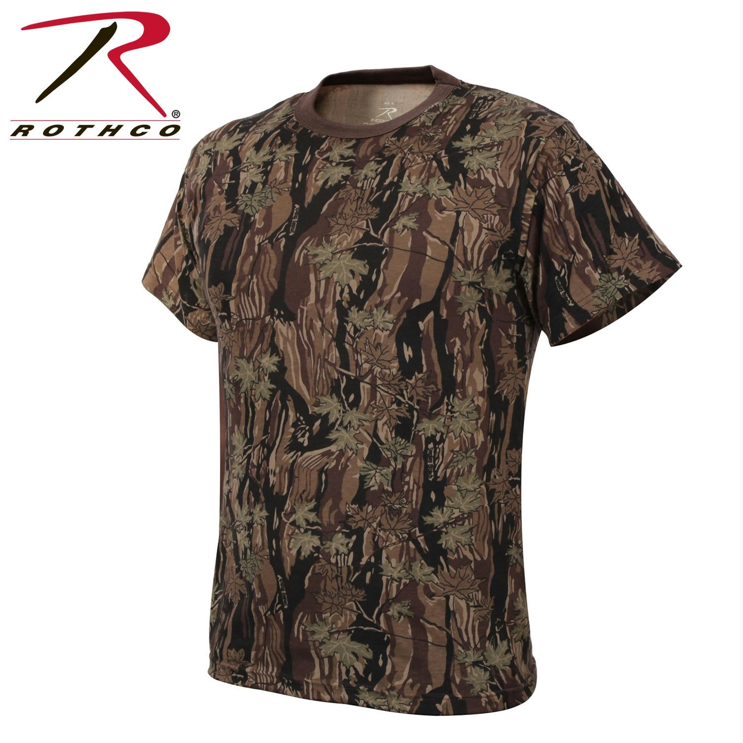 Mens Camouflage T-Shirt Military Camo Crewneck Short Sleeve Tee - Smokey Branch Camo / 3XL