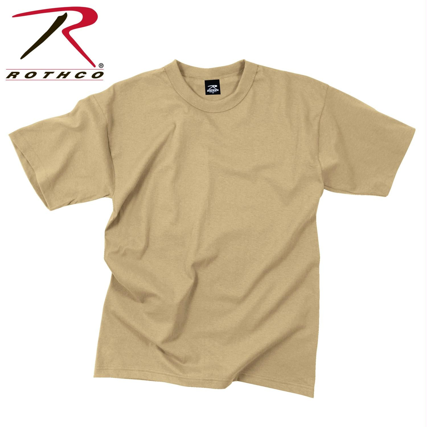 Rothco Solid Color Poly/Cotton Military T-Shirt - Khaki / L