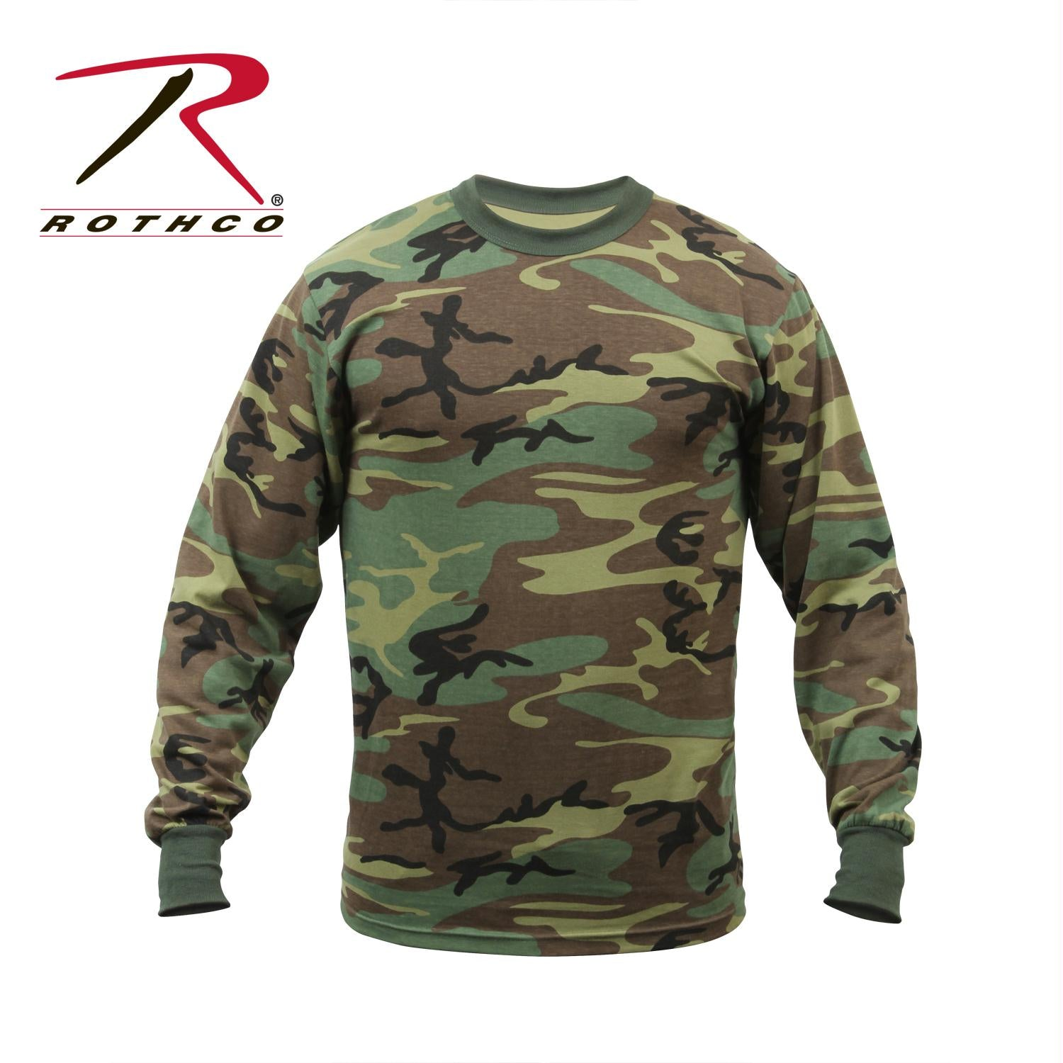 Rothco Long Sleeve Camo T-Shirt - Woodland Camo / M