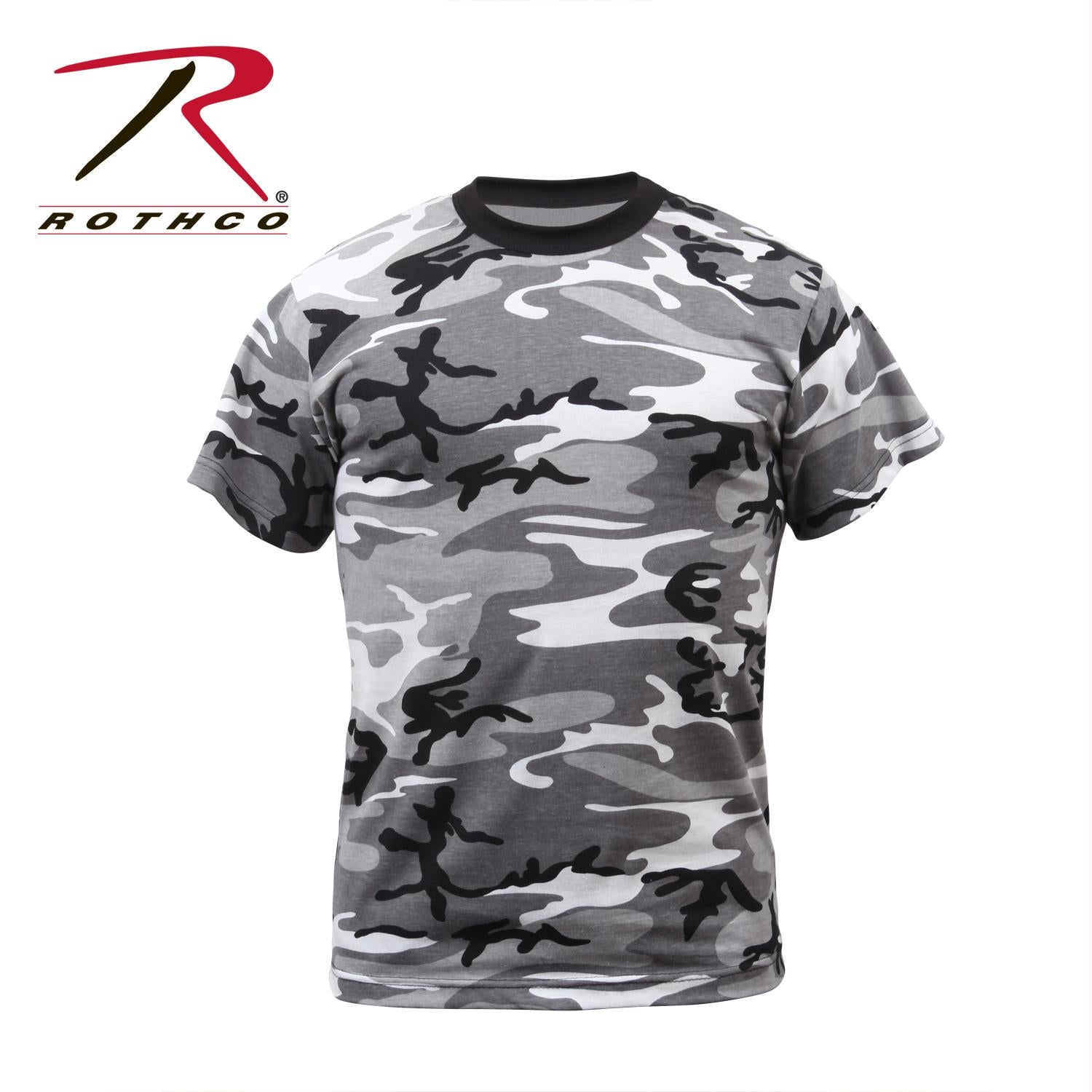 Mens Camouflage T-Shirt Military Camo Crewneck Short Sleeve Tee - City Camo / L