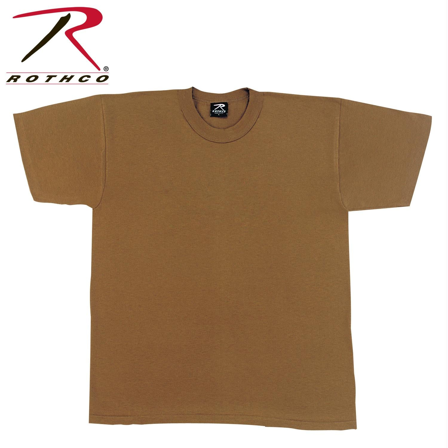 Rothco Solid Color Poly/Cotton Military T-Shirt - Brown / 3XL