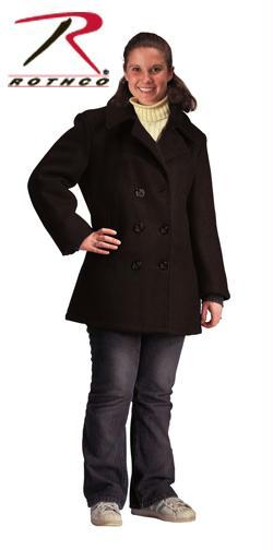 Rothco Women's Navy Type Black Wool Peacoat - L