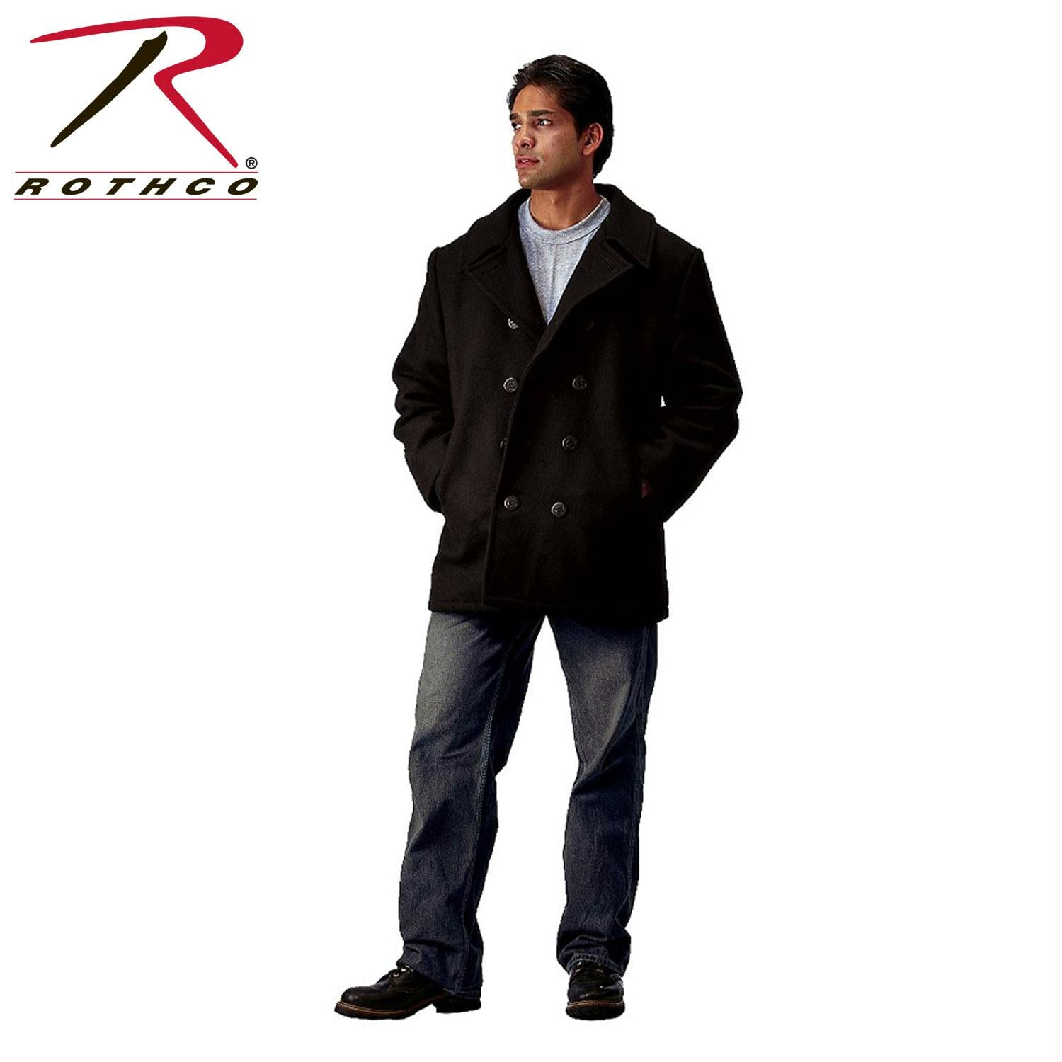 Rothco US Navy Type Pea Coat - Black / 2XL