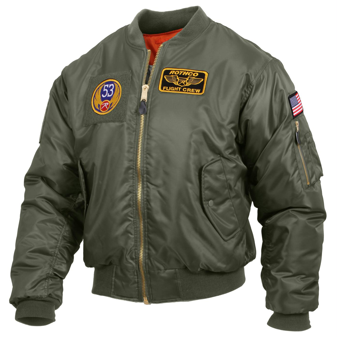 Rothco MA-1 Flight Jacket with Patches - Sage Green / XL