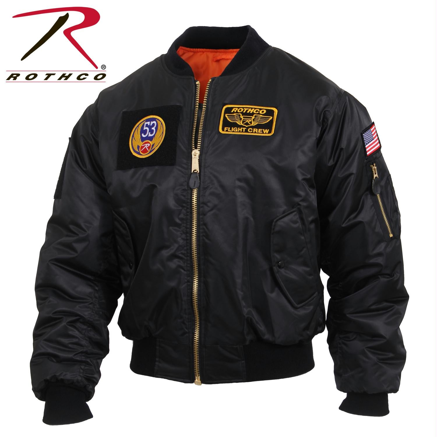 Rothco MA-1 Flight Jacket with Patches - Black / XS