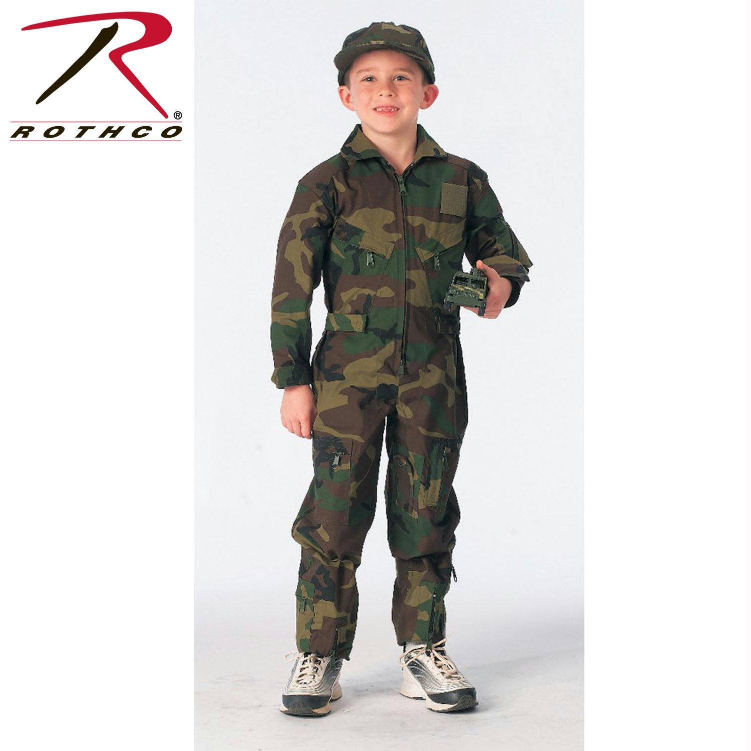 Rothco Kids Air Force Type Flightsuit - Woodland Camo / M