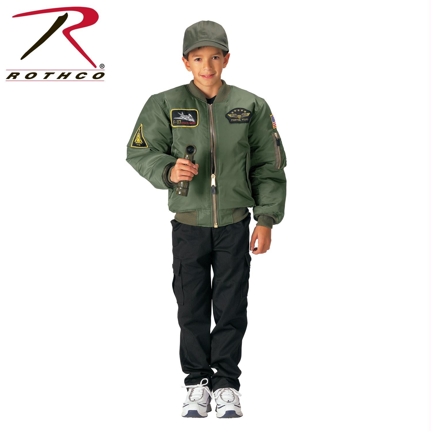 Rothco Kids Flight Jacket With Patches - Sage Green / XS