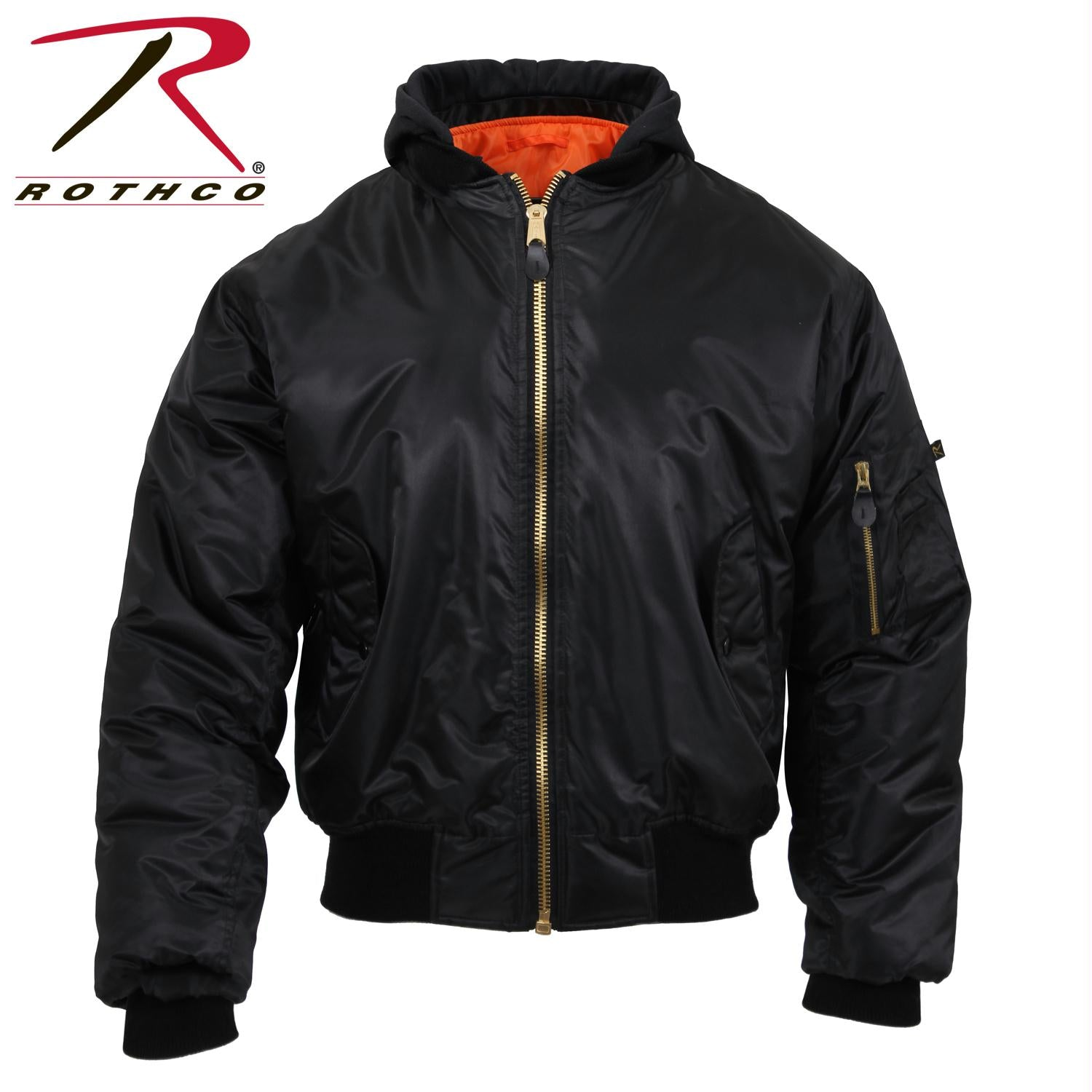 Rothco Hooded MA-1 Flight Jacket - Black / 3XL