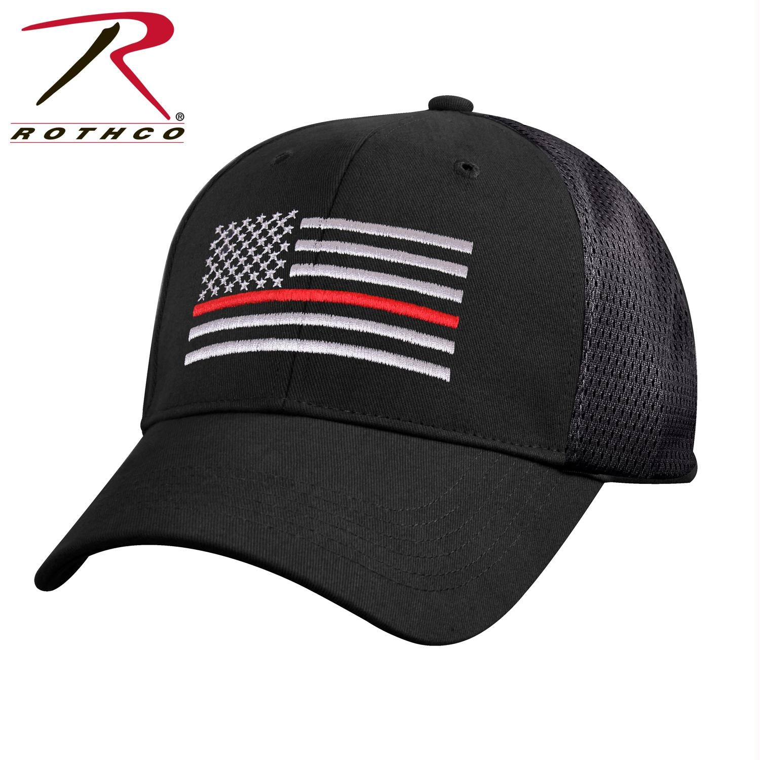 Rothco Mesh Back Thin Red Line Tactical Cap - Black / One Size
