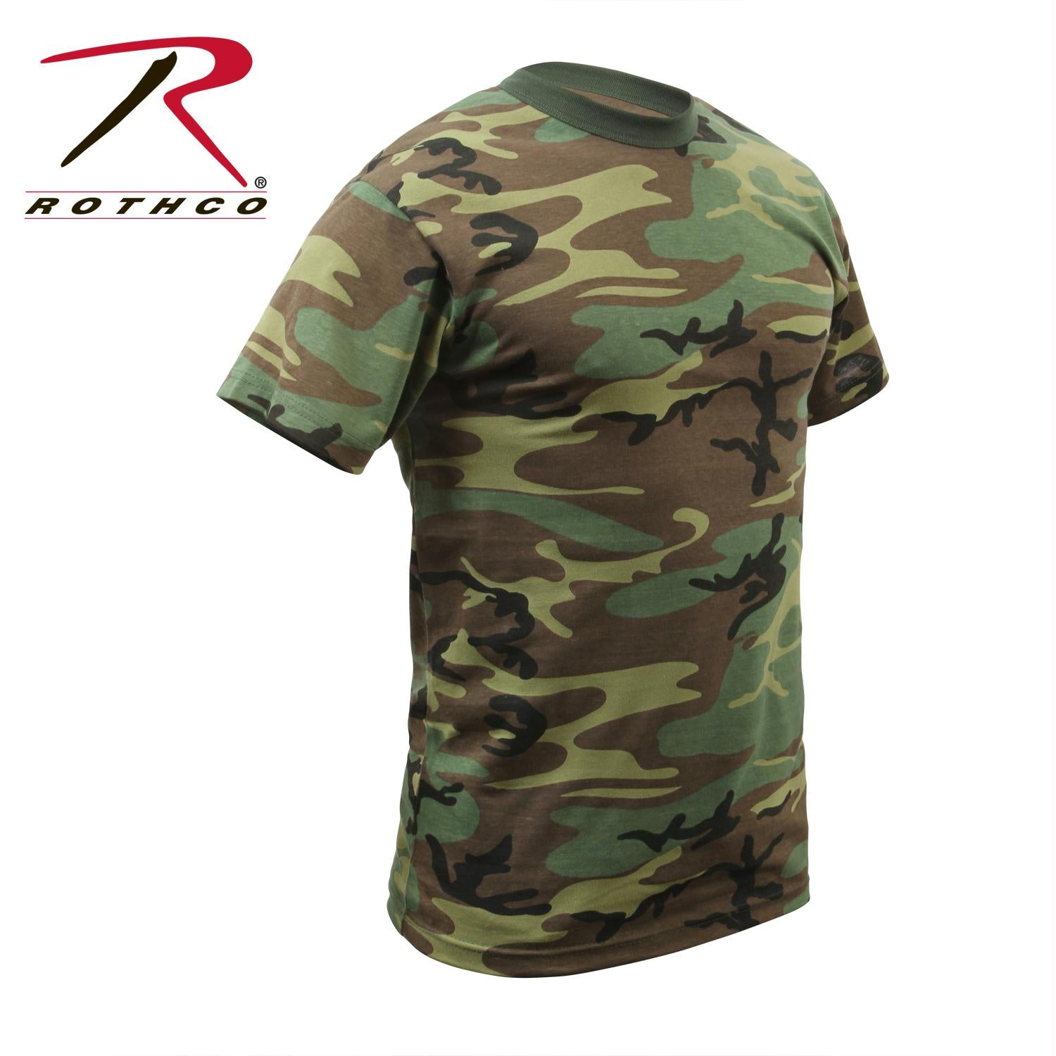 Rothco Childrens Woodland Camo Heavyweight T-Shirt - XL