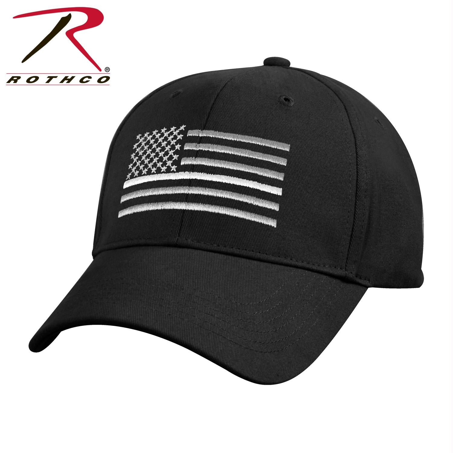 Rothco Thin White Line Flag Low Pro Cap - Black / One Size