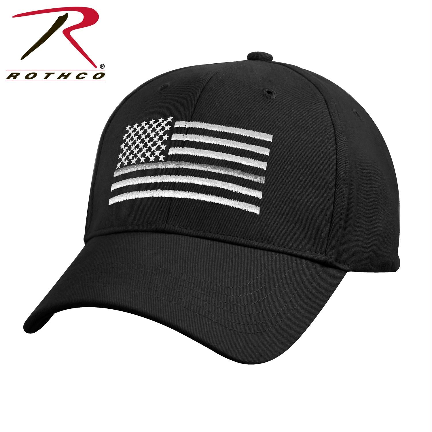 Rothco Thin Silver Line Flag Low Pro Cap - Black / One Size