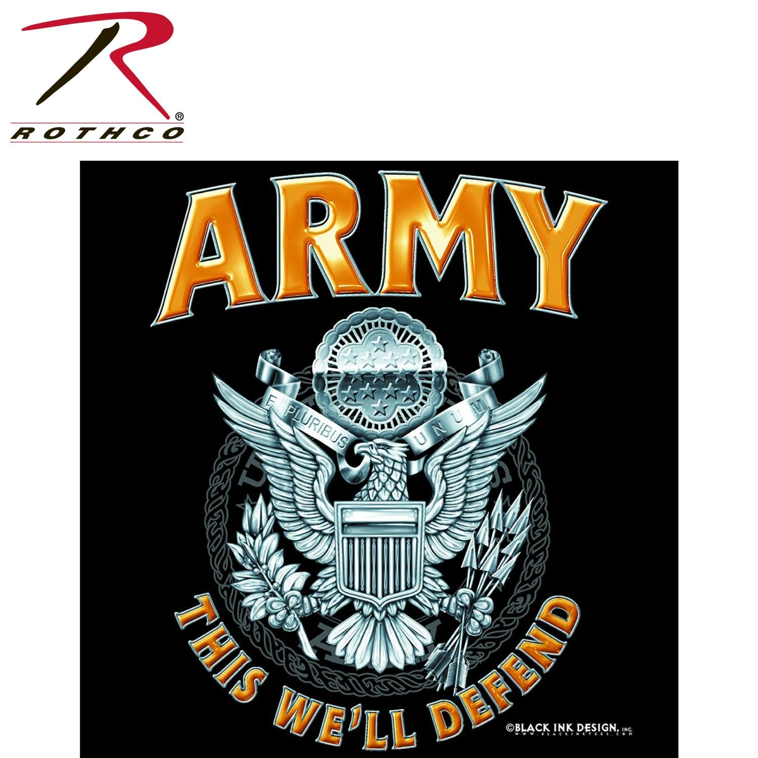 Rothco Black Army Emblem T-Shirt - XL
