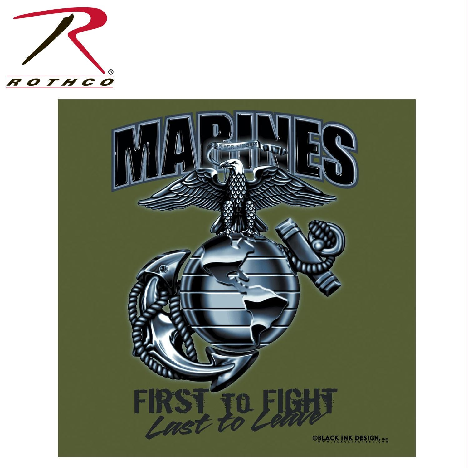 Black Ink Marines First To Fight T-Shirt - Olive Drab / 2XL