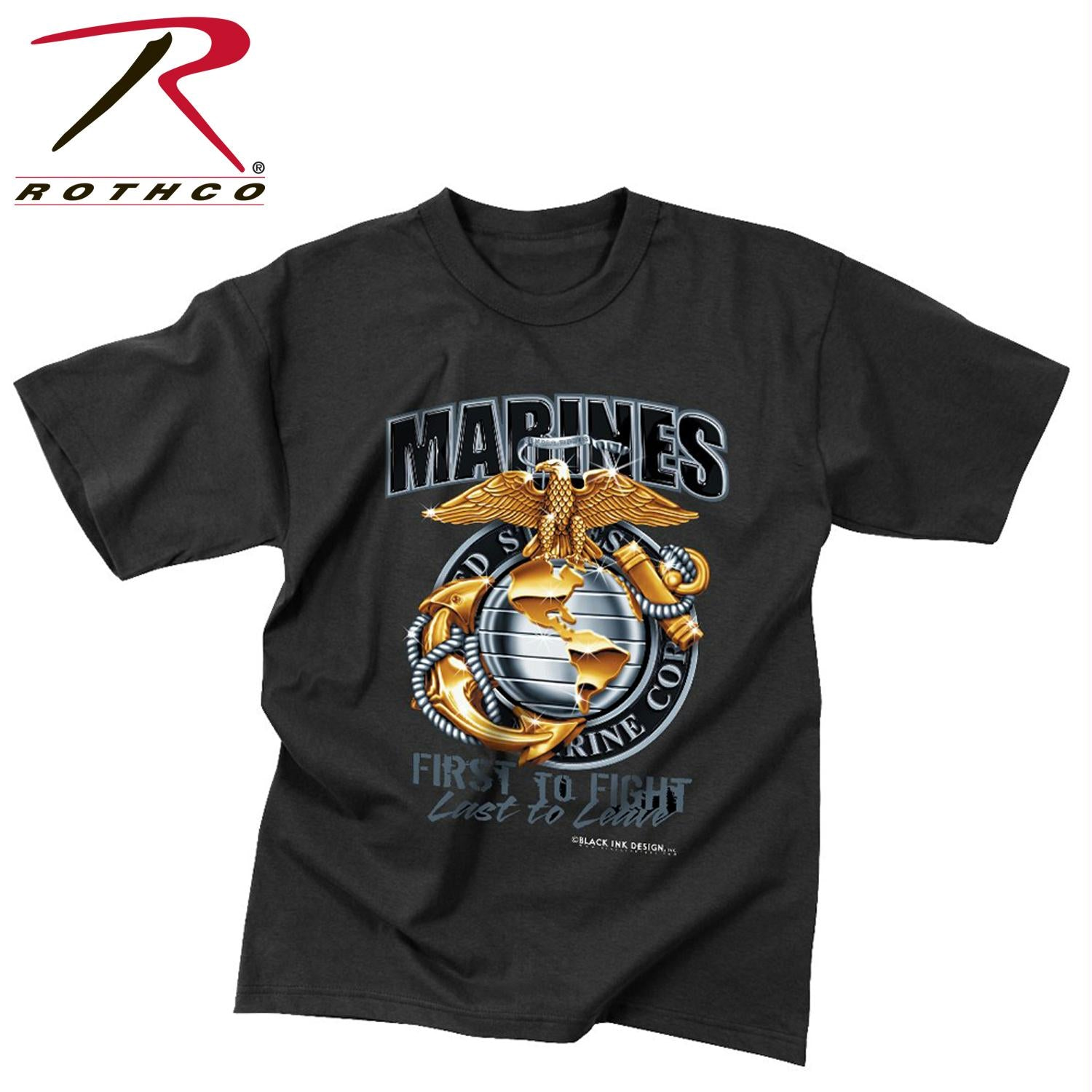 Black Ink Marines First To Fight T-Shirt - Black / M