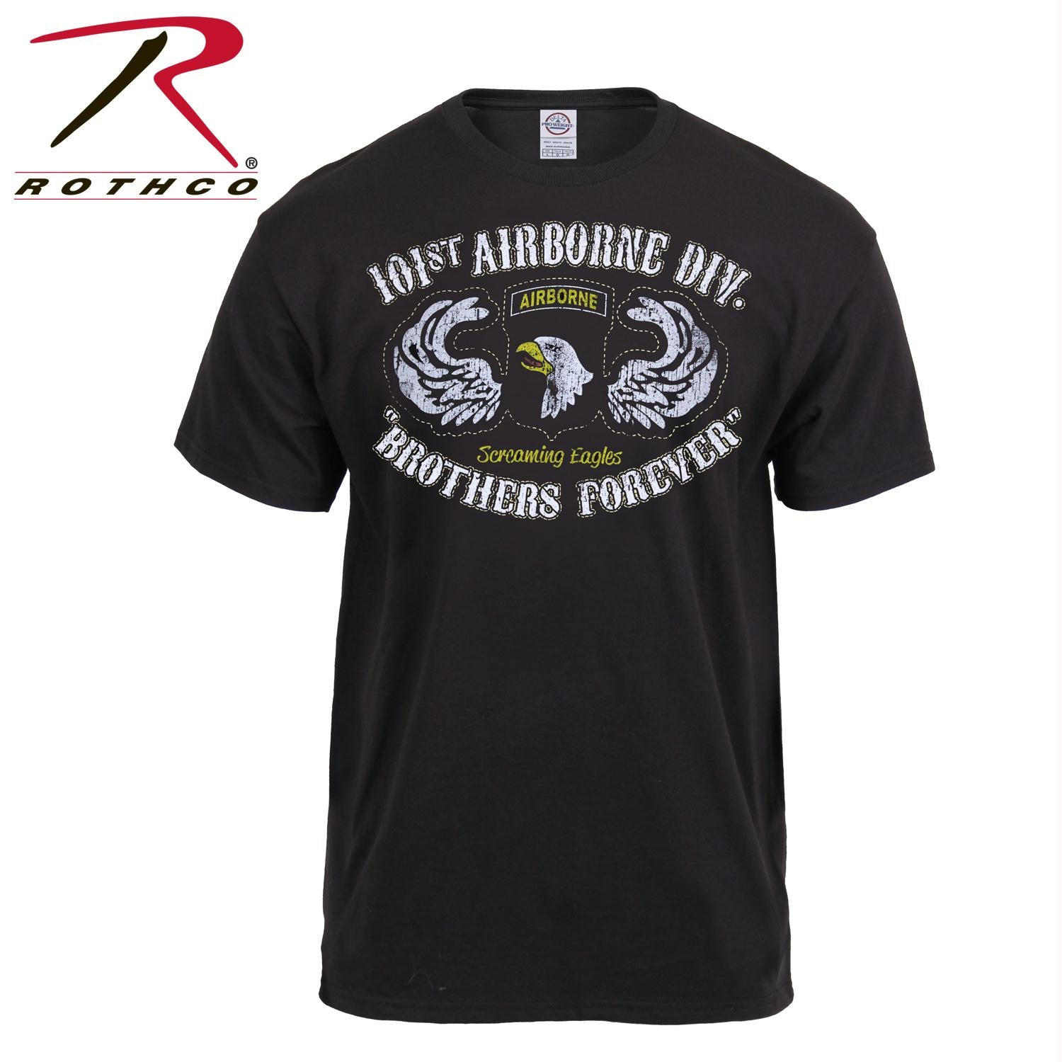 Black Ink Distressed 101st Airborne Division T-Shirt - XL