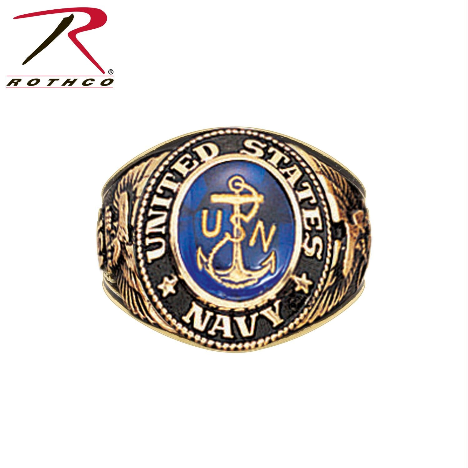 Deluxe Brass Engraved Ring - Navy / 11