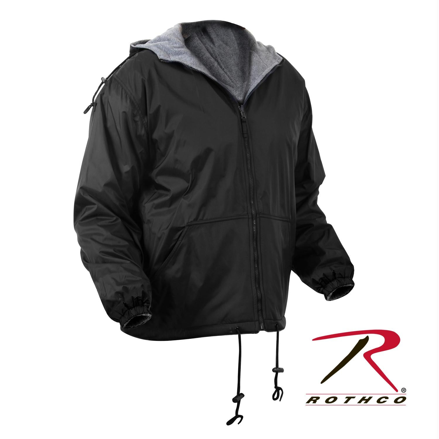 Rothco Reversible Lined Jacket With Hood - Black / 4XL