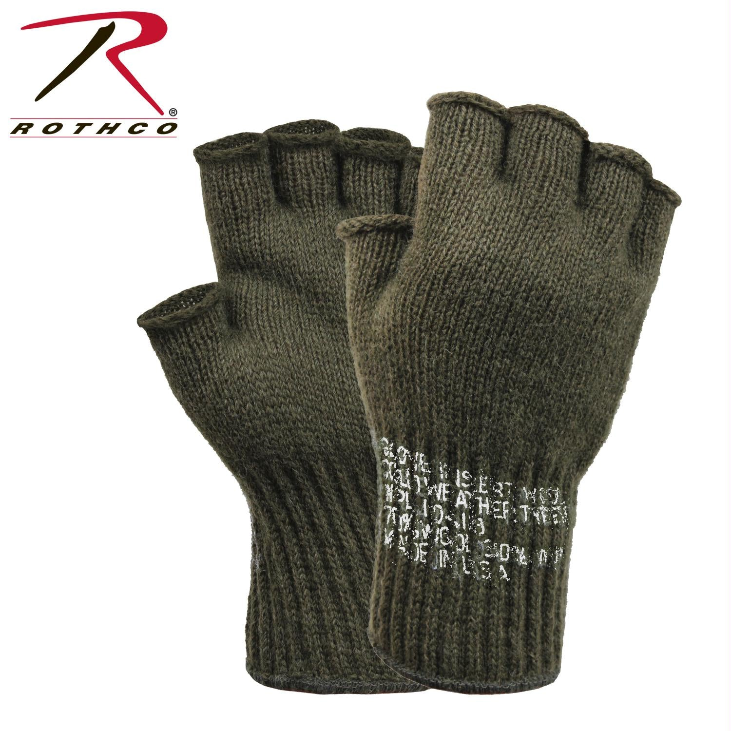 Rothco Fingerless Wool Gloves - Olive Drab