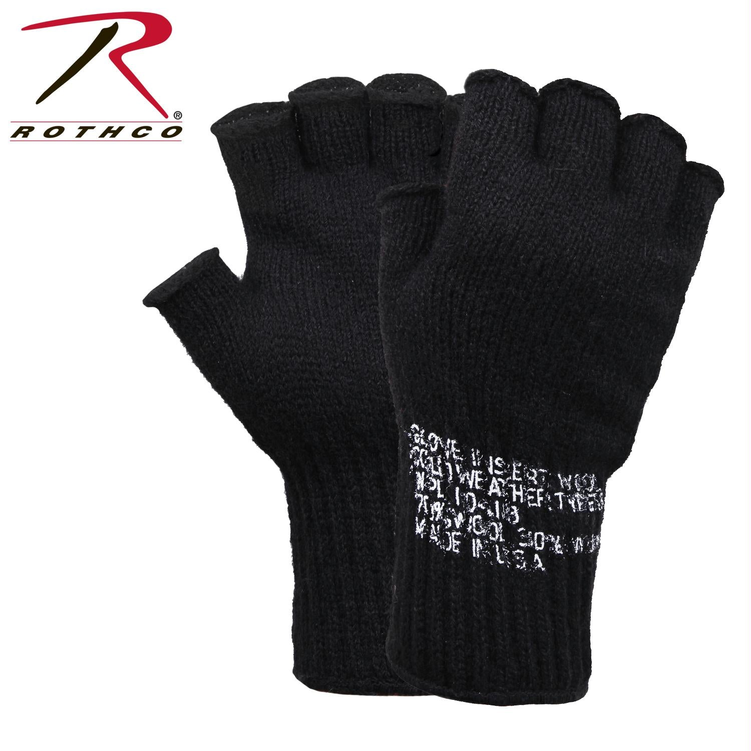 Rothco Fingerless Wool Gloves - Black