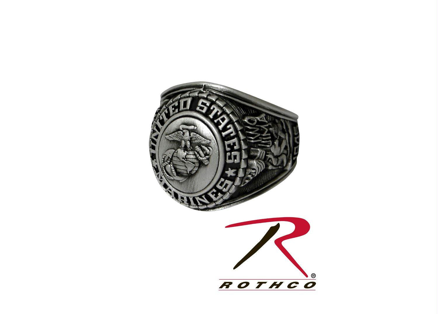Deluxe Silver Insignia Ring - Marines / 11