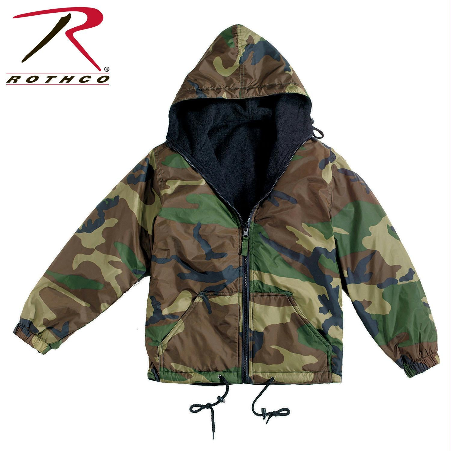 Rothco Reversible Lined Jacket With Hood - Woodland Camo / 2XL