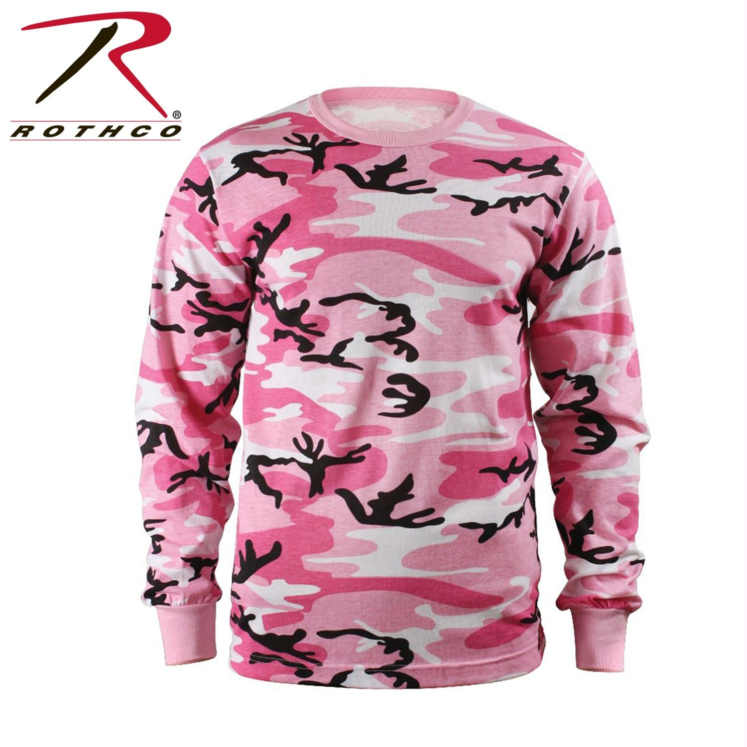 Rothco Long Sleeve Colored Camo T-Shirt - Pink Camo / L