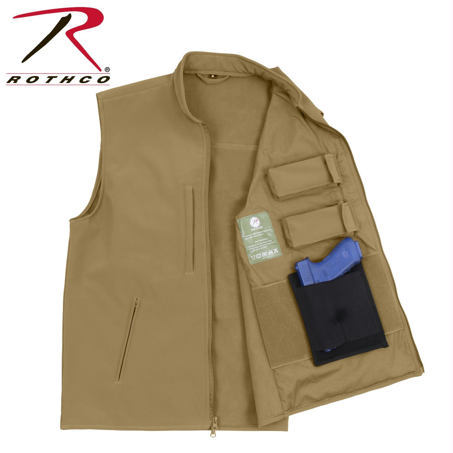 Rothco Concealed Carry Soft Shell Vest - Coyote Brown / 3XL