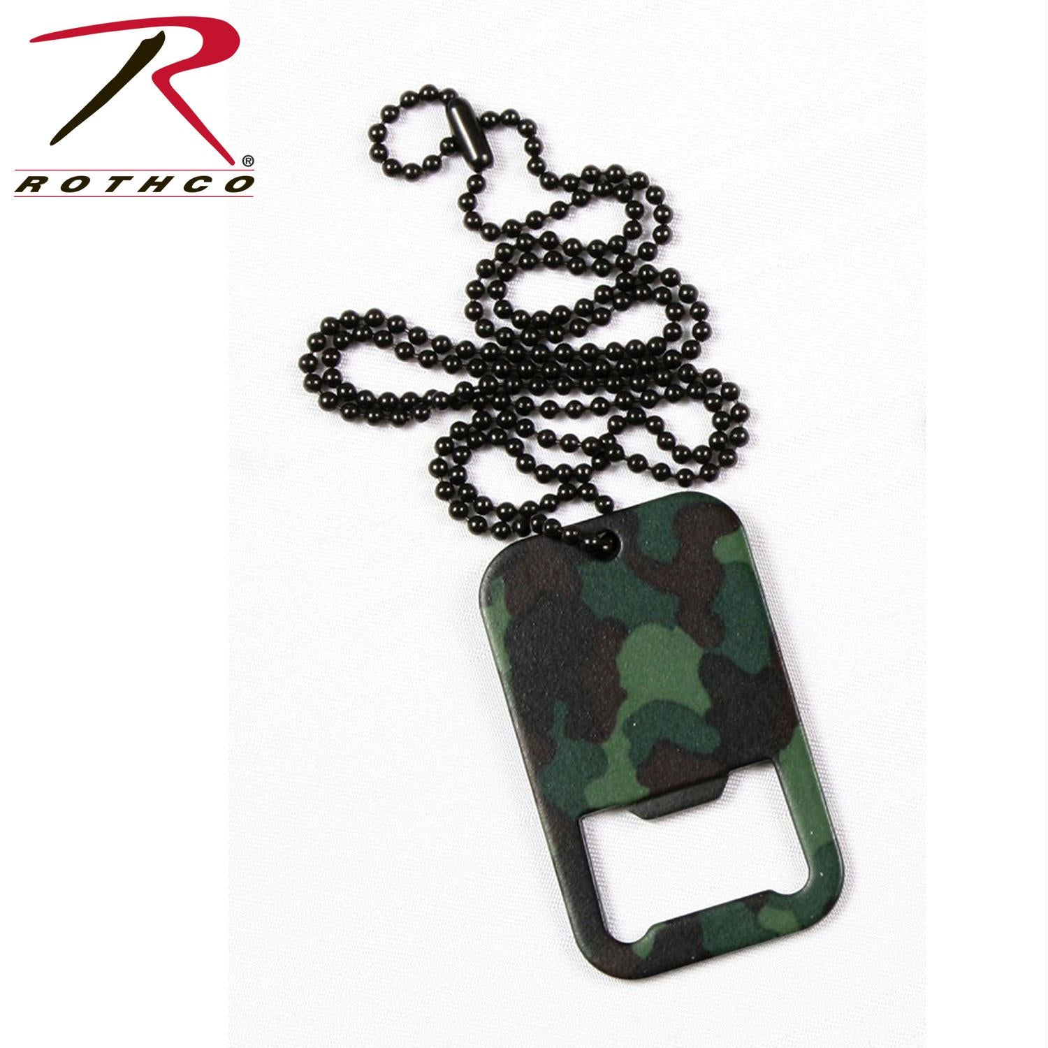 Rothco Dog Tag Bottle Opener With Chain - Woodland Camo