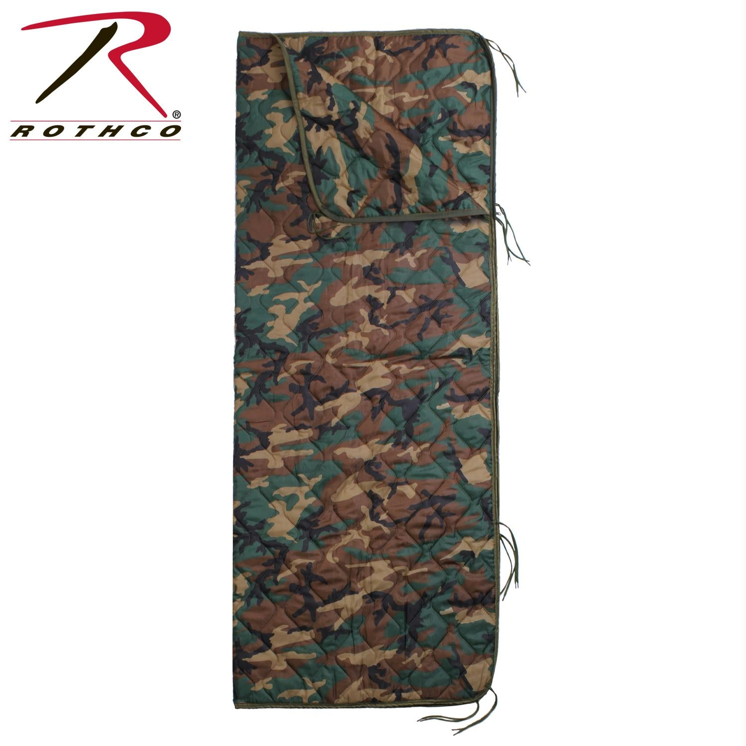 Rothco GI Type Rip-Stop Poncho Liner With Zipper - Woodland Camo