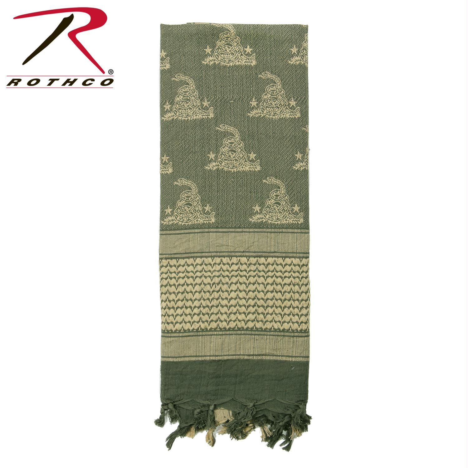 Rothco Gadsden Snake Shemagh Tactical Desert Scarf - Foliage Green