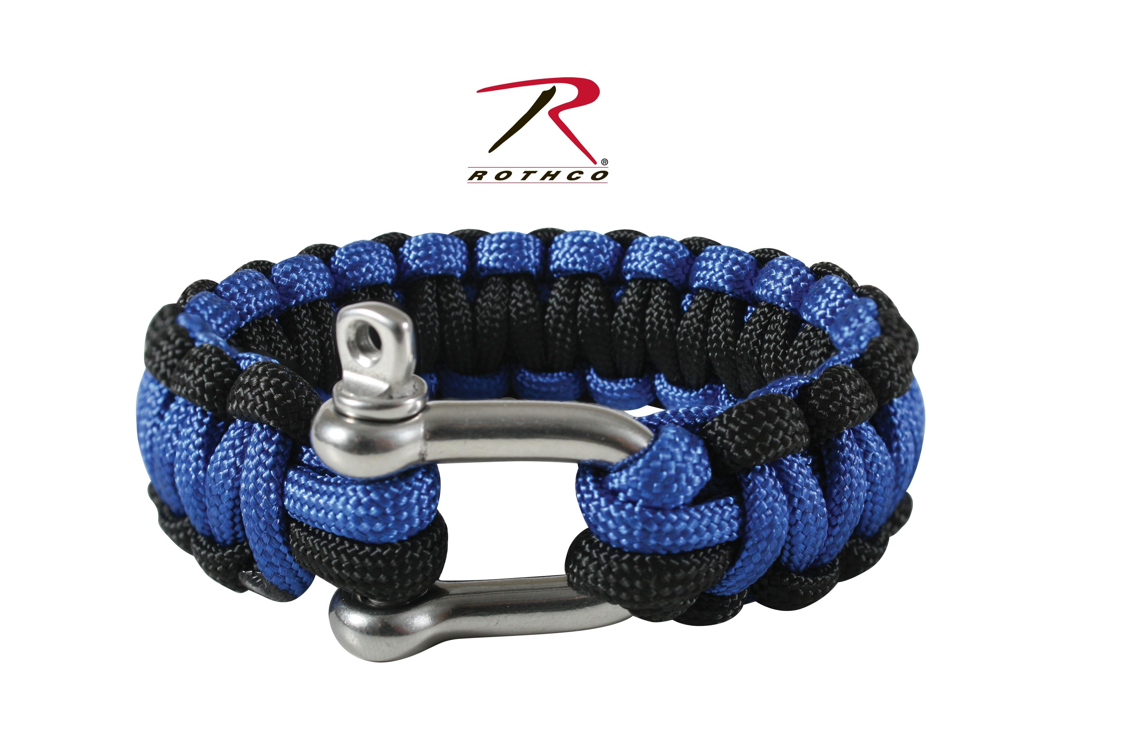 Rothco Paracord Bracelet With D-Shackle - Blue / Black / 10 Inches