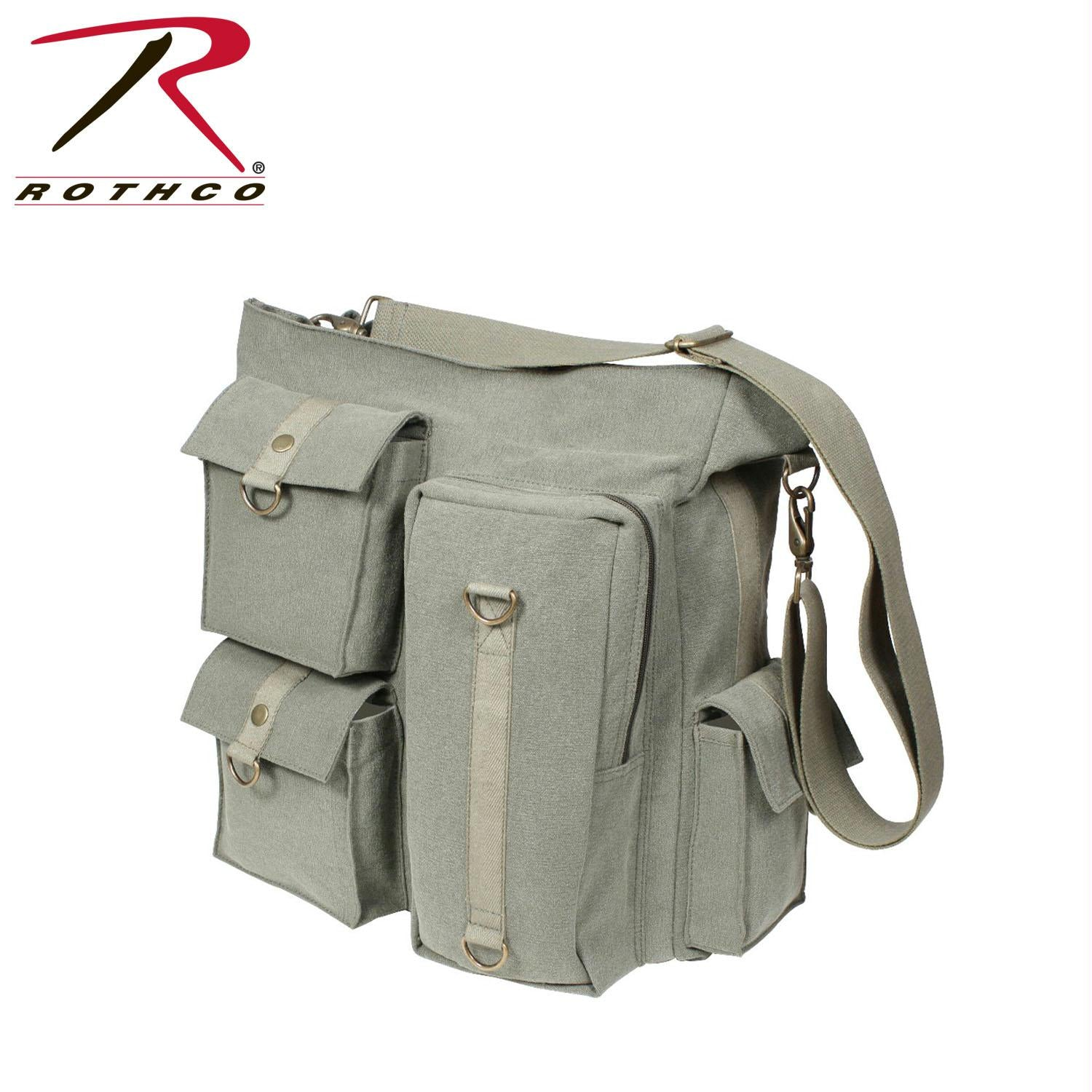 Rothco Vintage Multi Pocket Messenger Bag - Olive Drab