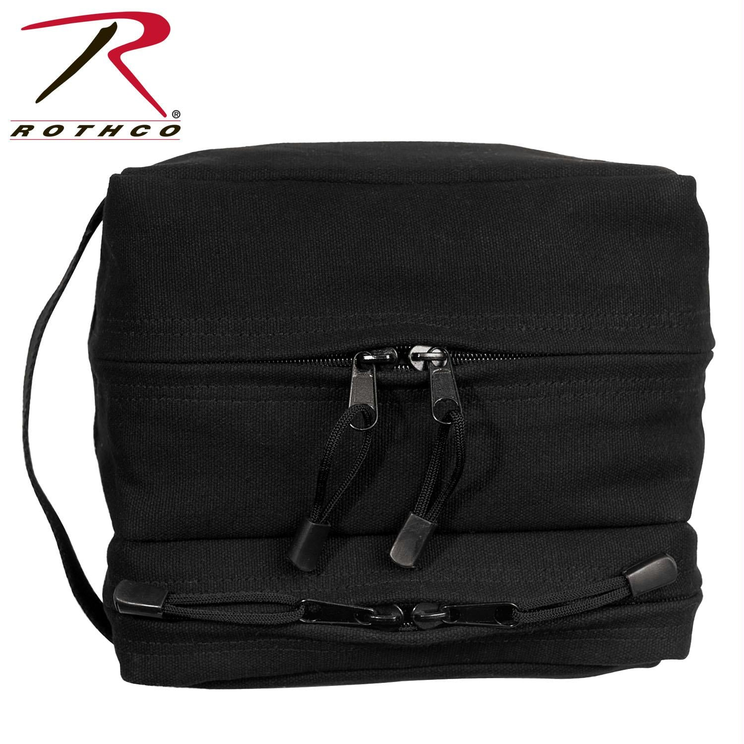 Rothco Canvas Dual Compartment Travel Kit - Black