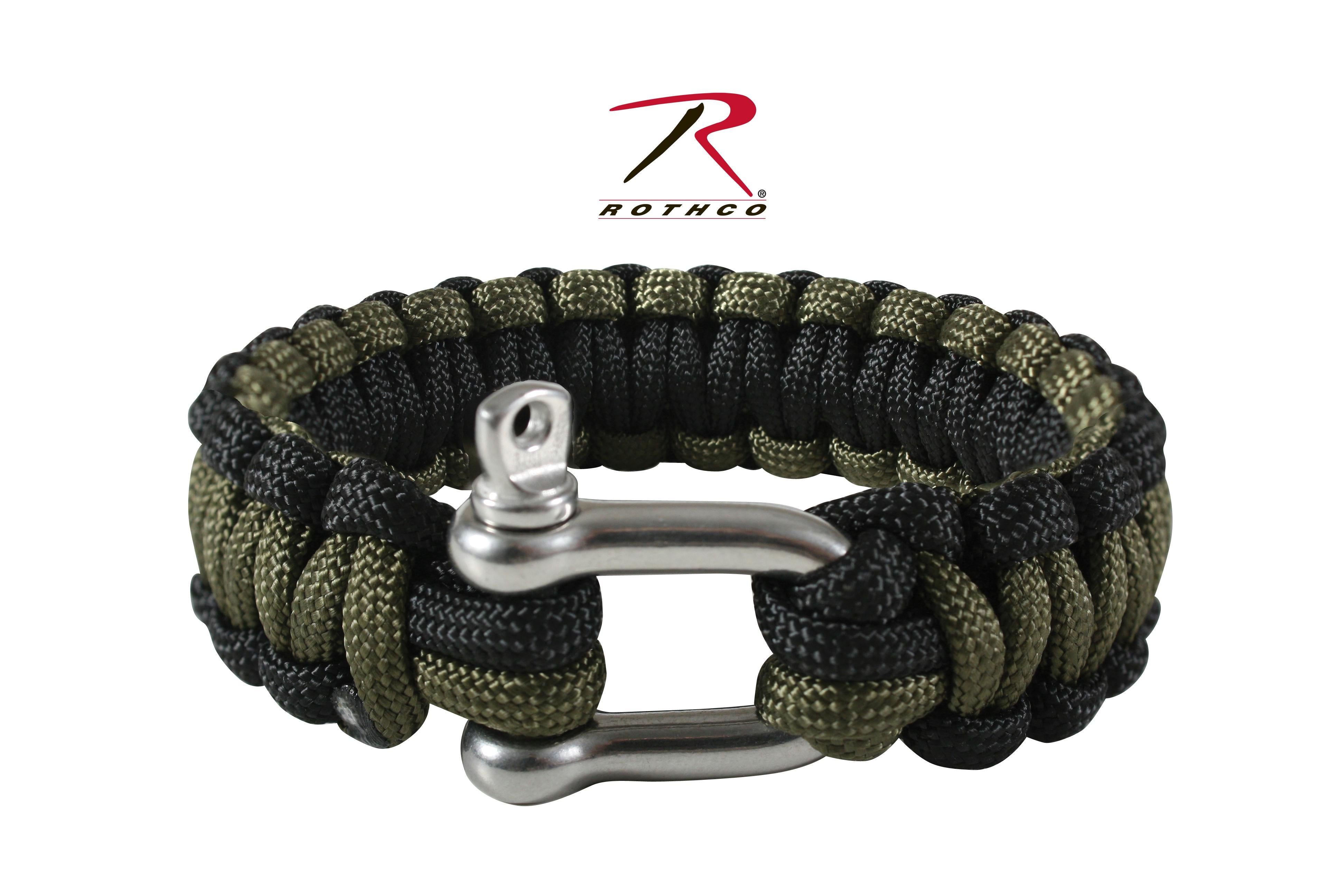 Rothco Paracord Bracelet With D-Shackle - Olive Drab / Black / 8 Inches