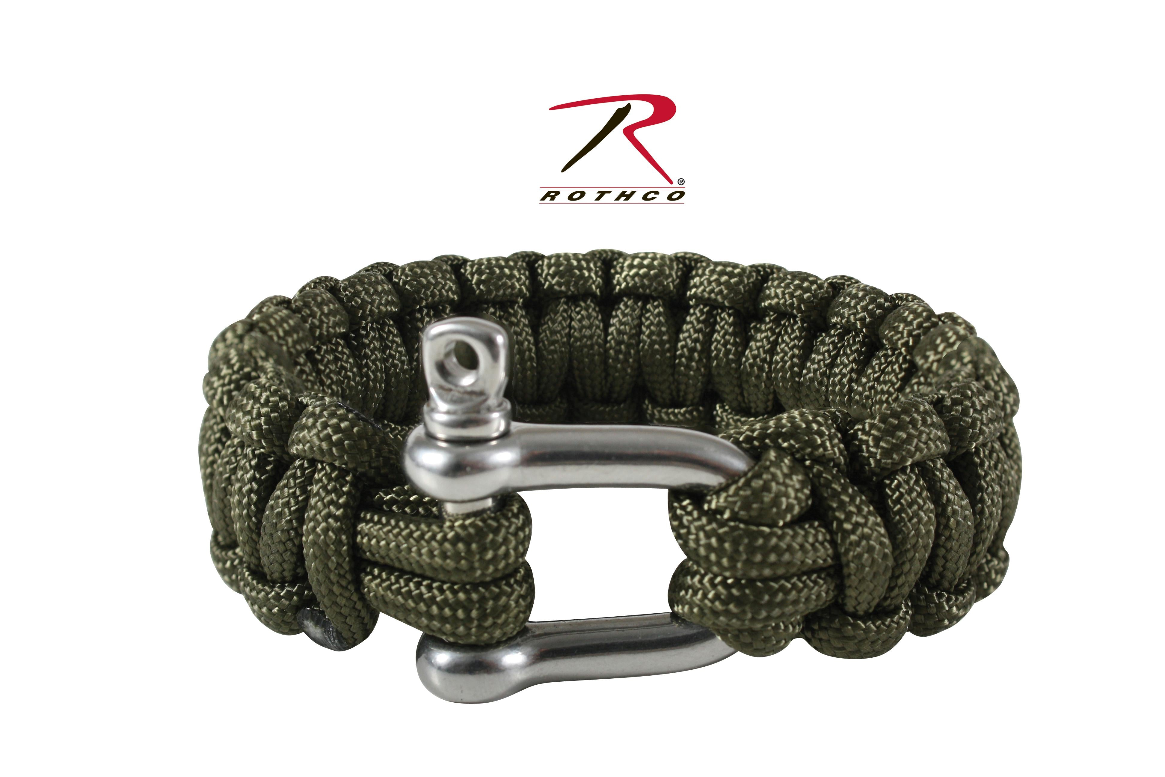 Rothco Paracord Bracelet With D-Shackle - Olive Drab / 8 Inches