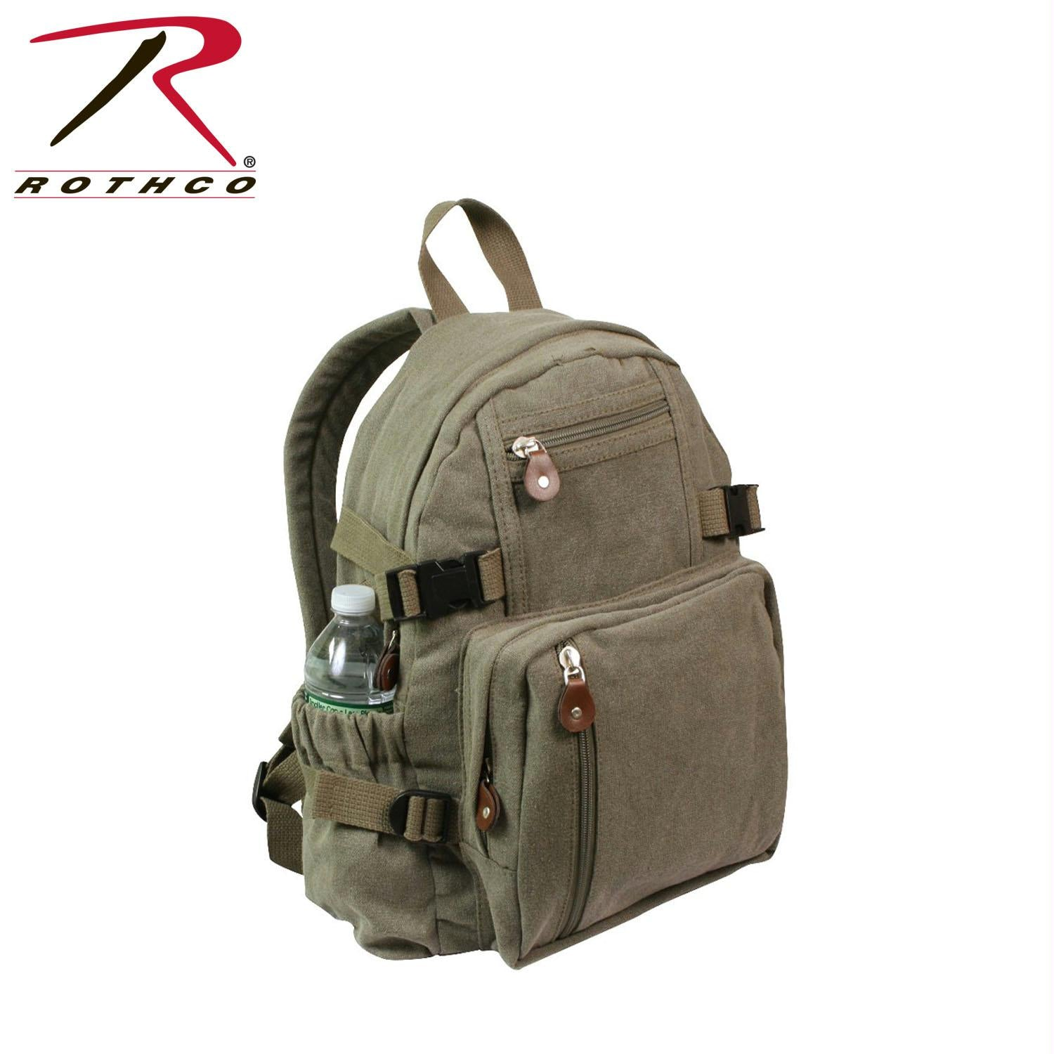 Rothco Vintage Canvas Mini Backpack - Olive Drab